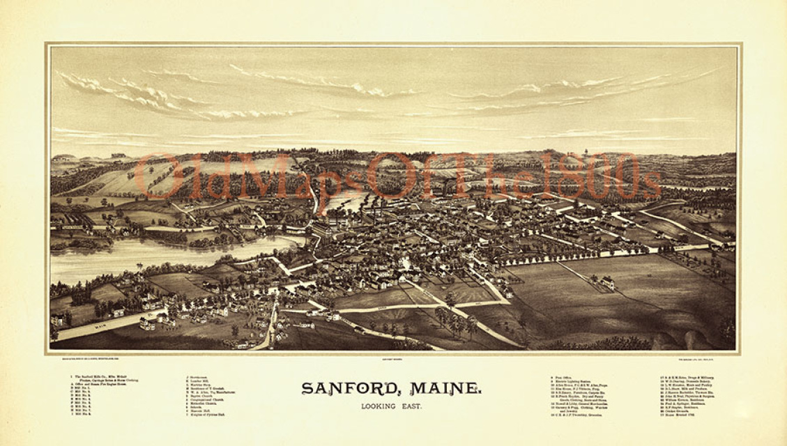 Sanford Maine In - Antique map of maine