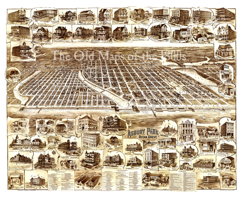 Asbury Park, Ocean Grove, New Jersey and Vicinity in 1897 - Bird's Eye  View, Map, Aerial, Panorama, Vintage, Antique, Fine Art, Wall art
