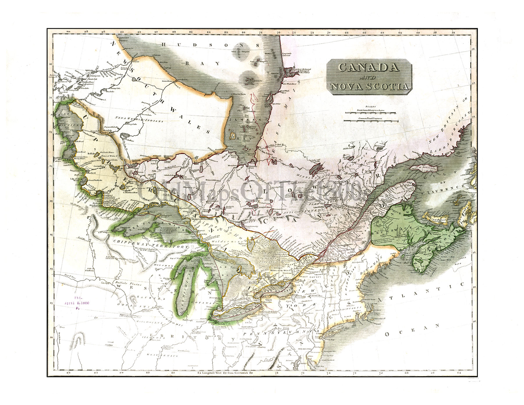 Colored Map Of Canada.Canada And Nova Scotia In 1817 Vintage Map Antique Map Reproduction Framable Map Fine Art Wall Map Great Lakes Hudson Bay Asia